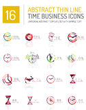 Geometric clock and time icon set Stock Photos