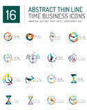 Geometric clock and time icon set. Geometric clock and time icon logo set. Thin line geometric flat style symbols or logotypes. Business time management, running Stock Photos