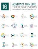 Geometric clock and time icon set Stock Photos