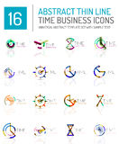 Geometric clock and time icon set Stock Photo