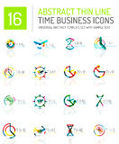 Geometric clock and time icon set Stock Photography