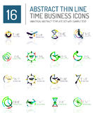 Geometric clock and time icon set Royalty Free Stock Image