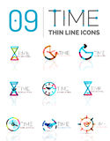 Geometric clock and time icon set Royalty Free Stock Photo