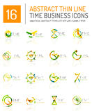 Geometric clock and time icon set Stock Image