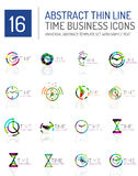 Geometric clock and time icon set Royalty Free Stock Images