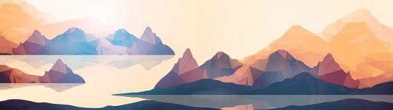 Geometric Coast Mountains and Sunset Background Panorama. Geometric Coast Mountains and Sunset Background Panorama - Vector Illustration Royalty Free Stock Photo