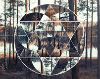 Geometric collage with the lake and nordic forest, sacred geometry. Geometric collage with the image of the nordic landscape. Abstract background with stock photos