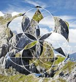 Geometric collage with the rock and sacred geometry. Abstract background with the image of the mountains, sky and rock. Harmony, spirituality, unity of nature royalty free stock image