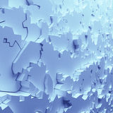 Geometric color abstract polygons, as crack wall. Interior room Royalty Free Stock Photo