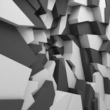 Geometric color abstract polygons wallpaper, as crack wall Stock Photo