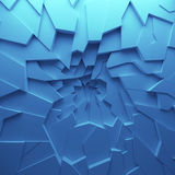 Geometric color abstract polygons wallpaper, as crack wall. Interior room, chasm, abyss Royalty Free Stock Photo