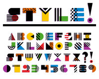 Geometric Colorful Font Isolated. 90s 80s Style stock illustration