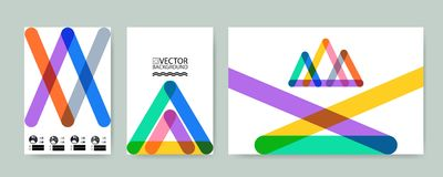 Geometric colorful lines trendy illustration background, placard, flat and 3d design elements. Retro art for covers, banners, flye. Rs and posters Royalty Free Stock Photography