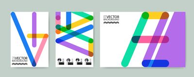 Geometric colorful lines trendy illustration background, placard, flat and 3d design elements. Retro art for covers, banners, flye. Rs and posters Stock Illustration