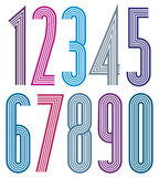 Geometric colorful numbers with straight lines. Stock Image