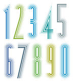 Geometric colorful tall decorative numbers. Stock Photos
