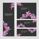 Geometric colorful triangles design for banners set stock illustration