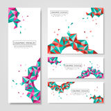 Geometric colorful triangles design for banners set Royalty Free Stock Photos