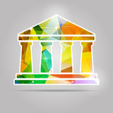 Geometric colorful triangular bank icon Stock Photos