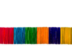 Geometric composition with colorful popsicle sticks isolated on. White background royalty free stock photography