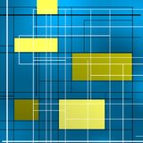 Geometric composition with golden squares. Geometric composition over blue with black lines Royalty Free Stock Image