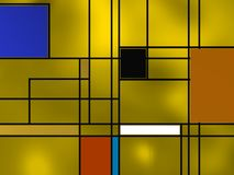 Geometric composition over yellow. Stock Photos