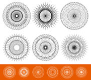 Geometric concentric element. Abstract spiral shape on white. Royalty free vector illustration Stock Photos