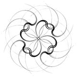 Geometric concentric element. Abstract spiral shape on white. Royalty free vector illustration Royalty Free Stock Photography