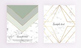 Geometric cover designs, triangles with gold line frame, green and grey colors and marble texture background. Template for design vector illustration