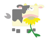 Geometric cow in white background. Illustration about a squared cow on a white background Royalty Free Stock Photos
