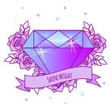 Geometric crystal diamond with flowers and motivational slogan on ribbon. Girls tattoo. Vector illustration in pastel gothic. Prin Stock Photography