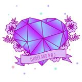 Geometric crystal heart with flowers and inspirational slogan on ribbon. Girls tattoo. Vector illustration in pastel gothic. Print. Geometric crystal heart with Royalty Free Stock Image