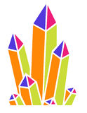 Geometric Crystals. A cluster of colorful geometric crystals stock illustration