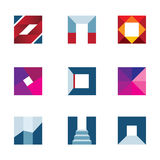 Geometric cube polygons creating walking to success professional logo icon Stock Images
