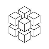 Geometric cube of 8 smaller isometric cubes. Abstract design element. Science or construction concept. Black outline 3D. Vector object Royalty Free Stock Image