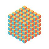 Geometric cube of smaller isometric cubes. Abstract design element. Science or construction concept. 3D vector object Royalty Free Stock Images