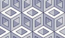 Geometric cubes abstract seamless pattern, 3d vector background. Technology style engineering line drawing endless illustration. Usable for fabric, wallpaper royalty free illustration