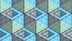 Geometric cubes abstract seamless pattern, 3d vector background. Technology style engineering line drawing endless illustration. Usable for fabric, wallpaper Royalty Free Stock Photography