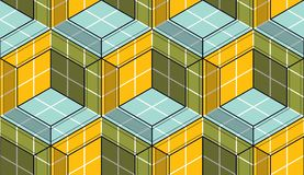 Geometric cubes abstract seamless pattern, 3d vector background. Technology style engineering line drawing endless illustration. Usable for fabric, wallpaper Royalty Free Stock Photo