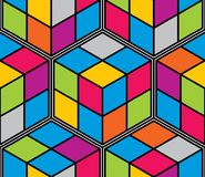 Geometric cubes abstract seamless pattern, 3d vector background. stock illustration
