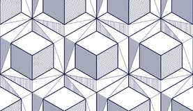 Geometric cubes abstract seamless pattern, 3d vector background. Technology style engineering line drawing endless illustration. Single color, black and white vector illustration