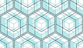 Geometric cubes abstract seamless pattern, 3d vector background. Technology style engineering line drawing endless illustration royalty free illustration