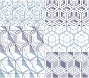Geometric cubes abstract seamless patterns set, 3d vector backgr. Ounds collection. Technology style engineering line drawing endless illustrations. Usable for Stock Images