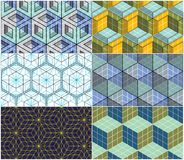 Geometric cubes abstract seamless patterns set, 3d vector backgr. Ounds collection. Technology style engineering line drawing endless colorful illustrations Royalty Free Stock Image