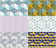 Geometric cubes abstract seamless patterns set, 3d vector backgr. Ounds collection. Technology style engineering line drawing endless colorful illustrations Stock Photography
