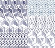 Geometric cubes abstract seamless patterns set, 3d vector backgr. Ounds collection. Technology style engineering line drawing endless illustrations. Usable for Royalty Free Stock Images