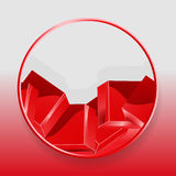 Geometric cubes 3D border on red and gray background. Glossy Geometric 3D Red Cubes in Red Border Background Royalty Free Stock Photo