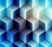 Geometric cubes pattern on blue lurred background Stock Images
