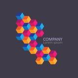 Geometric cubic isometric logo or emblem. Stock Images
