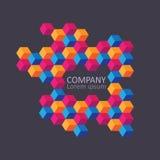 Geometric cubic isometric logo or emblem. Royalty Free Stock Photo